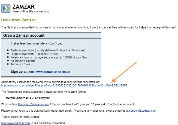 Zamzar e-mail