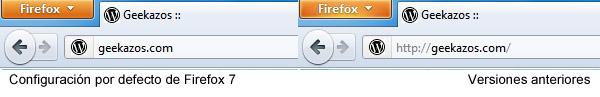 Barra de direcciones de Firefox 7