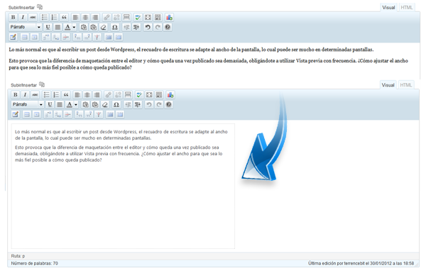 Wordpress ancho del cuadro de escritura